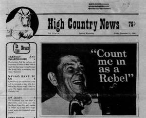 Ronald Reagan on the 1980 cover of High Country News