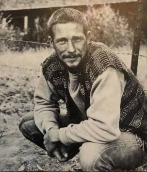A sepia-tone picture of poet Gary Snyder, a key figure in the environmental movement, in 1969