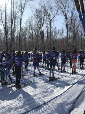 Cross country skiers at the start of the American Birkebeiner Race