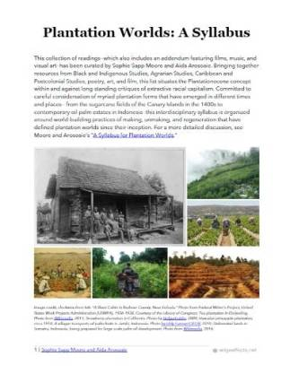 Plantation Worlds: A Syllabus