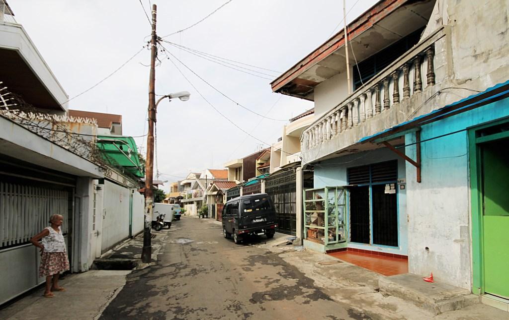 street view of an informal settlement in Jakarta