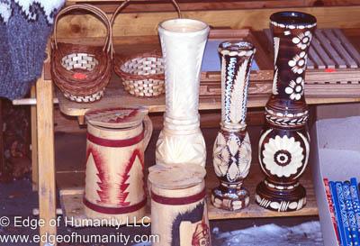 Wood handicrafts from Romania.
