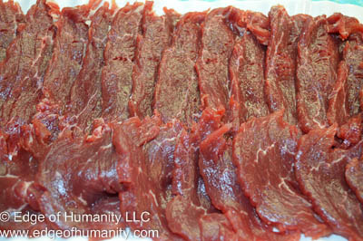 Thinly sliced filet mignon.