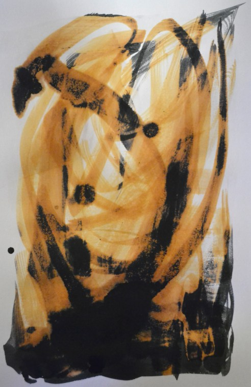 Experiments into the idea of material conflict. Painting Quink ink, wet into wet, onto bleached paper. Bleach eats into the black pigment and leaves a golden color.