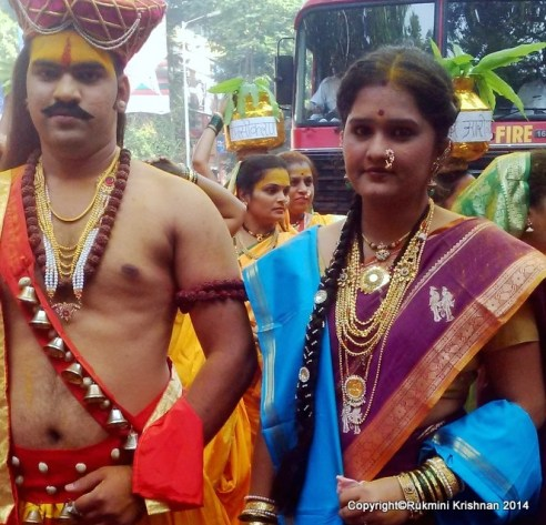 Man and woman dressed as King and Queen - Gudi Padva Carnival, India
