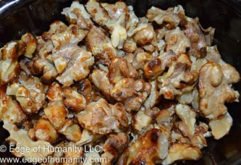 Chopped caramelized walnuts.