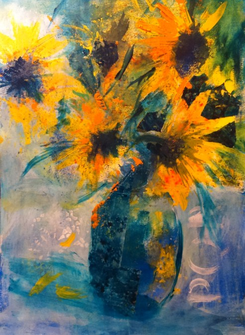 Sunflowers: Mixed media piece on paper,