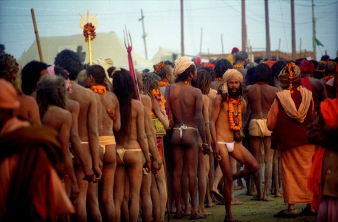 Sadhus in queue to move for Sangam for bath.