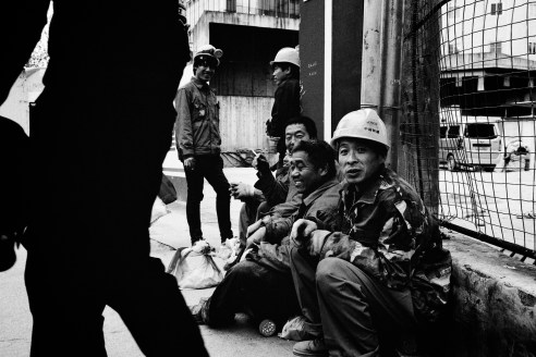 Construction workers after a long day, Shanghai