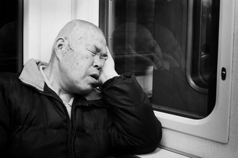 """""""Painful nap"""" Tokyo subway, Japan"""