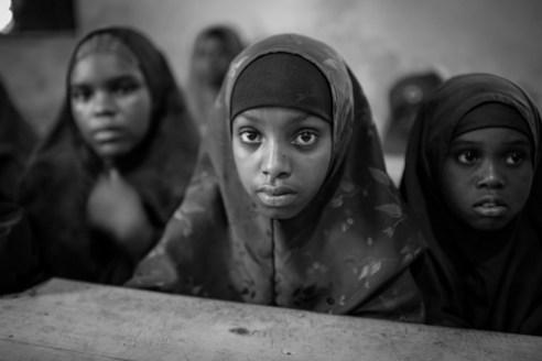Orphaned children attending a class at the Mama Asha Foundation Orphanage in the Hamar Weyne district, Mogadishu, Somalia.