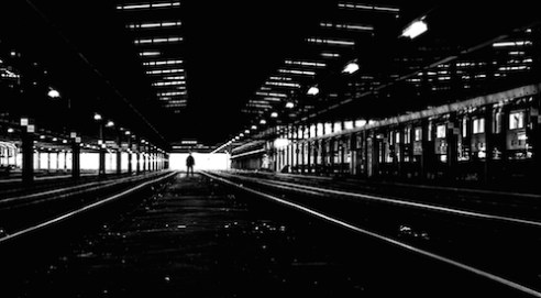 Final Frontier The hight contrast lines and the glow at the end of the tunnel make this train depot look very space age