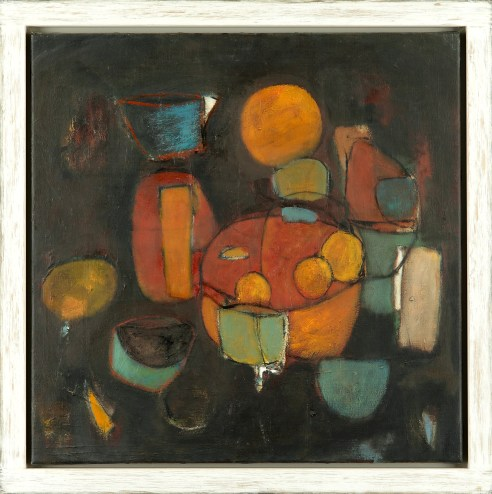 JOHN ILLSLEY STILL LIFE RED 2014 OIL ON CANVAS 60 X 60 CM