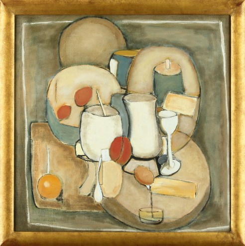 JOHN ILLSLEY STILL LIFE V OIL ON CANVAS 60 X 60 CM