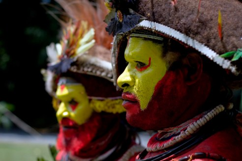 Considered to be some of the fiercest warriors the Huli are most noted for their flamboyant wigs made from their own hair, harvested throughout their lives and worn with great pride dressed with flowers and bird of paradise feathers. Huli Wigmen Tribe - Tari, Southern Highlands, PNG