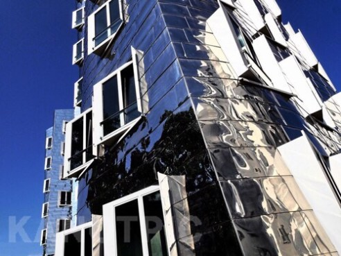 Windows with silver, Zollhof 1, designed by Frank Gehry Düsseldorf Harbour , Germany