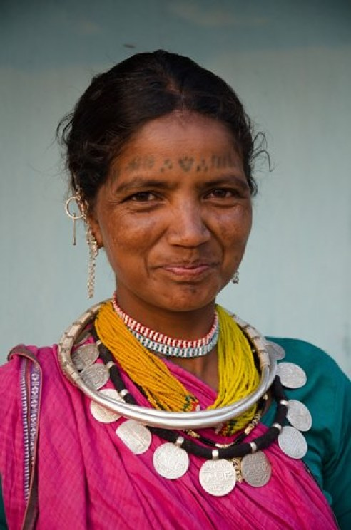 Wife Baiga Tribe Village outside Kanha National Forest in Madhya Pradesh, India.