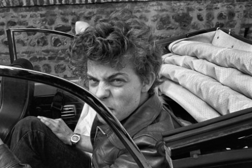 Boy in a convertible VW - Le Havre, France (1977)