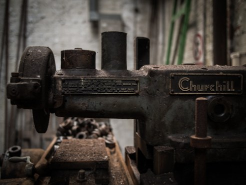 Churchill Grinding Machine Abandoned Brickworks in Surrey, Canada