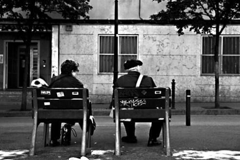 Old couple in Sant Jordi's celebration day. Barcelona, Spain