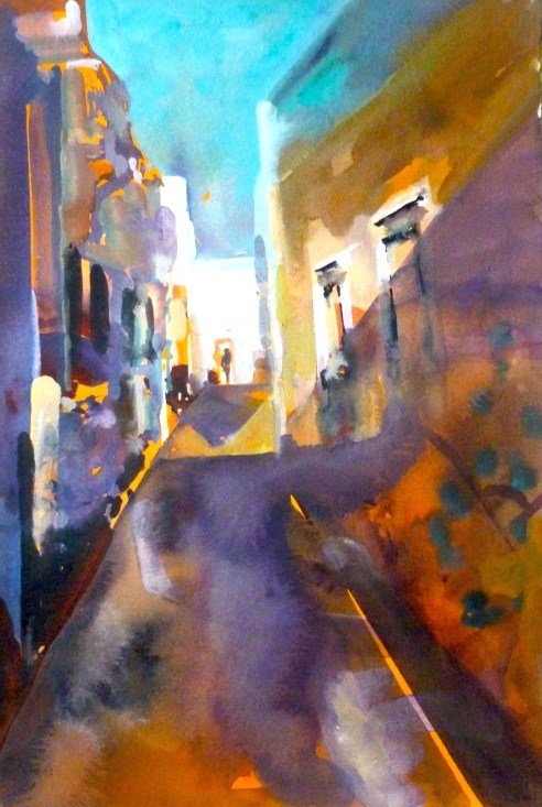 "Alleyway Olhao, Portugal - watercolour/gouache - 15"" x 22"""