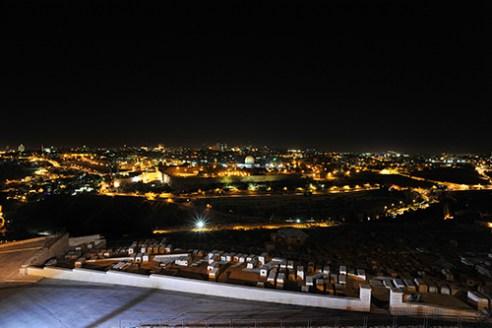 Jerusalem skyline at night.
