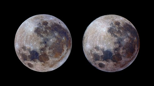Moon showing mineral colour differences 2013-09-19 & 2014-03-16