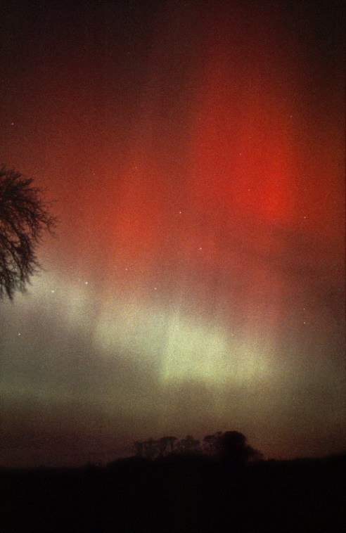 Red aurora in Ursa Major - near Cousland, East Lothian Aurora Borealis from central Scotland