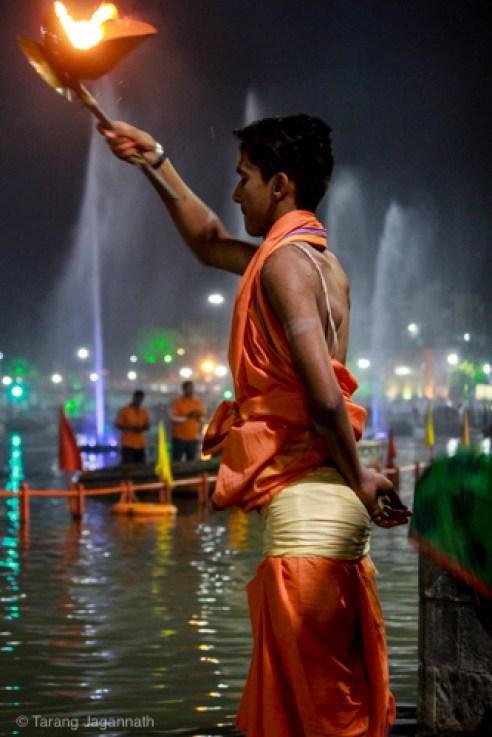 Evening prayer (Aarti) at bank of river Shipra