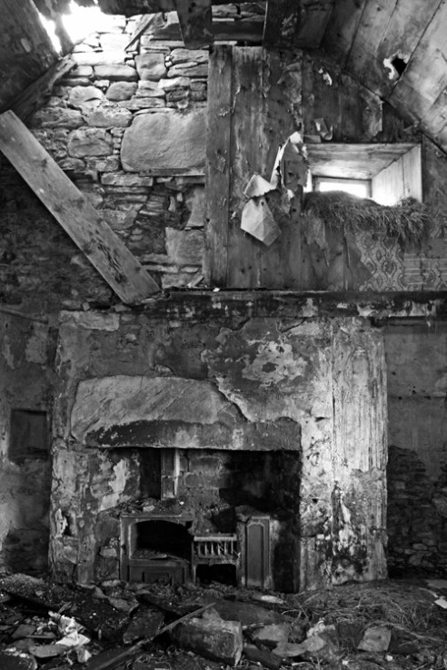 'Remains of wood and stone'. This former croft at Invervack, Perthshire, Scotland, was abandoned in the early 1900's.