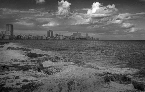 Havana Skyline Amid the Clouds and Waves