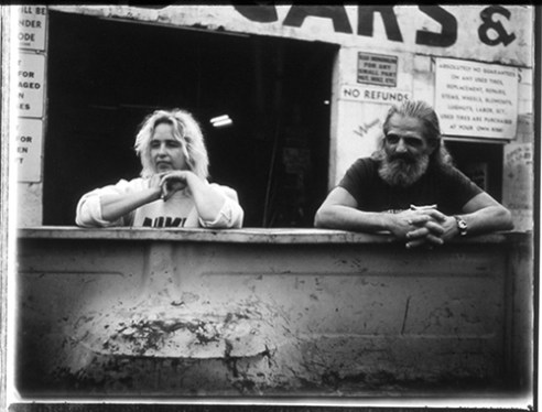 Patty and Evans with pickup, 1998