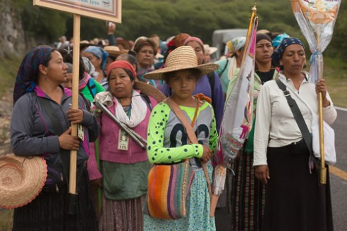 Group Guadalupano de la Sierra in day 4 of their 17 day pilgrimage walking from Landa de Matamoros to Ahuacatlan.