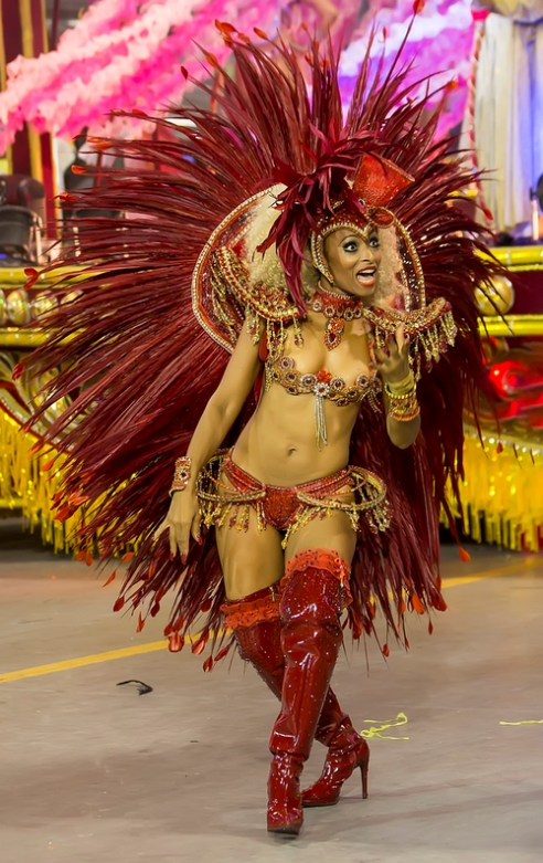 São Paulo, Brazil- February 7, 2016: Brazilian samba dancers performing in costume for the samba school Imperio de Casa Verde at the Amhembi Sambadrome in Sao Paulo.