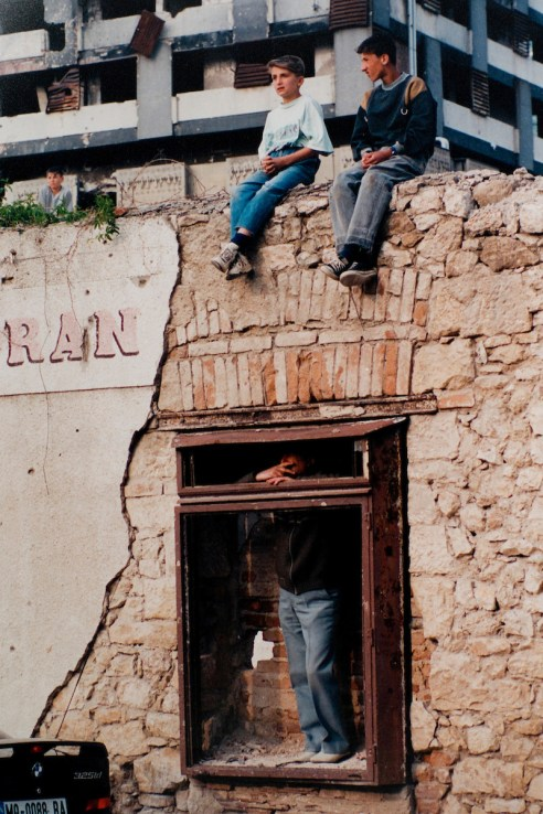 Children in the war damaged streets of Mostar, Bosnia. Warchild projects in Mostar and Sarajevo, in Bosnian Wars, 1994-1995