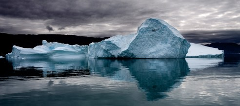 Iceberg Reflected Qassiarsuk Southern Greenland September 2009