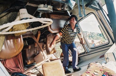 Driver scared inside a crashed bus Ivoti, Rio Grande do Sul, Brazil