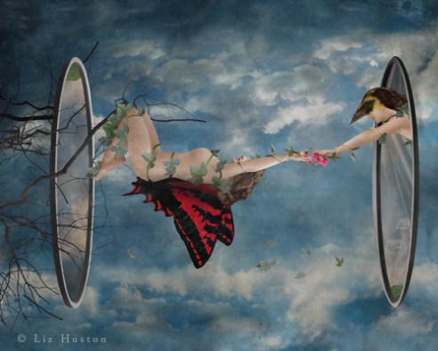 """If You Fall, Fly In To Yourself"" Mixed Media: Digital Painting, Photomontage, Watercolor, Acrylic"