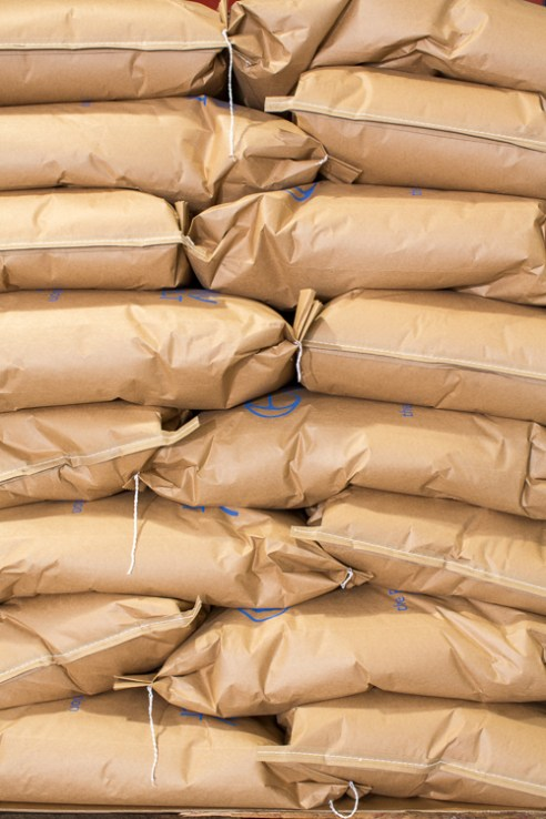 Durham, North Carolina - Monday July 11, 2016 - Bags of Epiphany Craft Malt ready to be distributed out of the Durham, North Carolina facility.