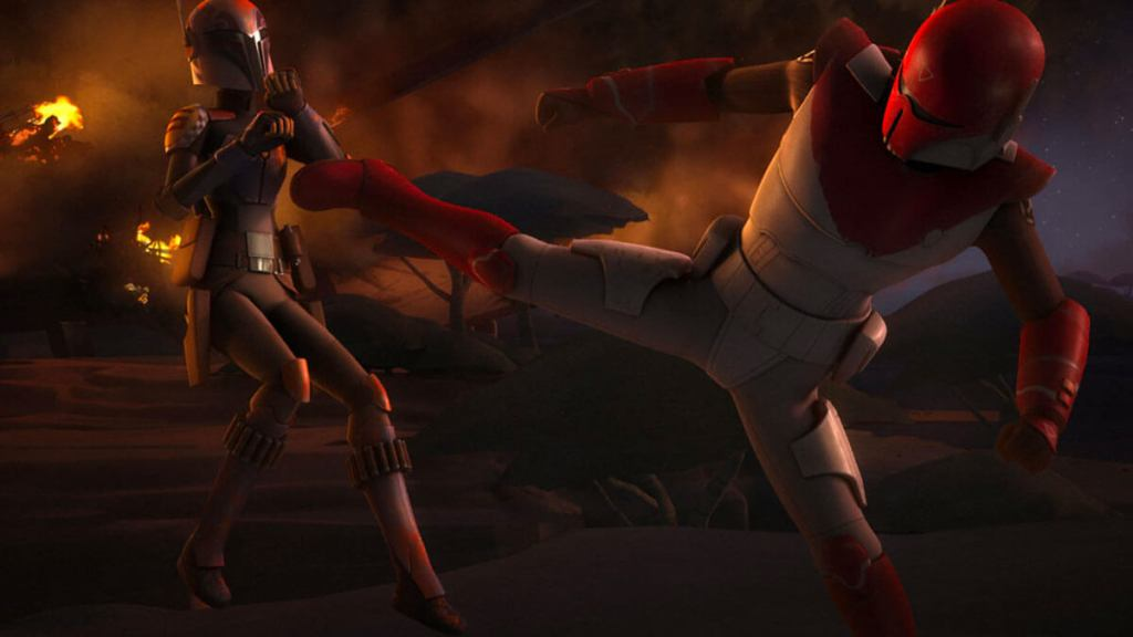 Sabine fights with Gar Saxon
