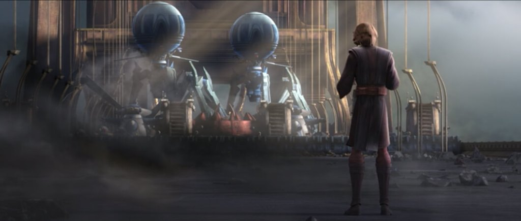 Anakin faces down the entire droid army on Yerbana by himself
