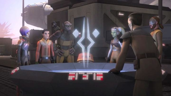 Ahsoka's Fulcrum symbol as a hologram
