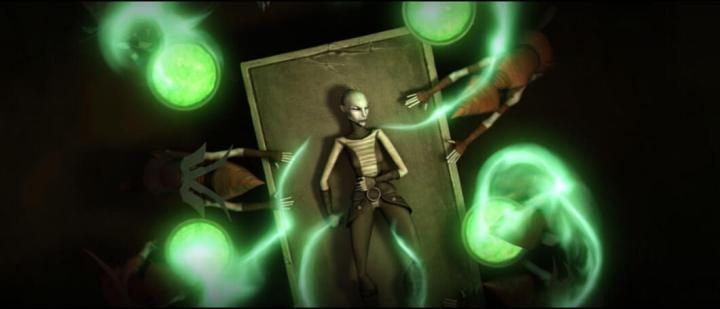 Witches heal an injured Asajj Ventress with Force magic