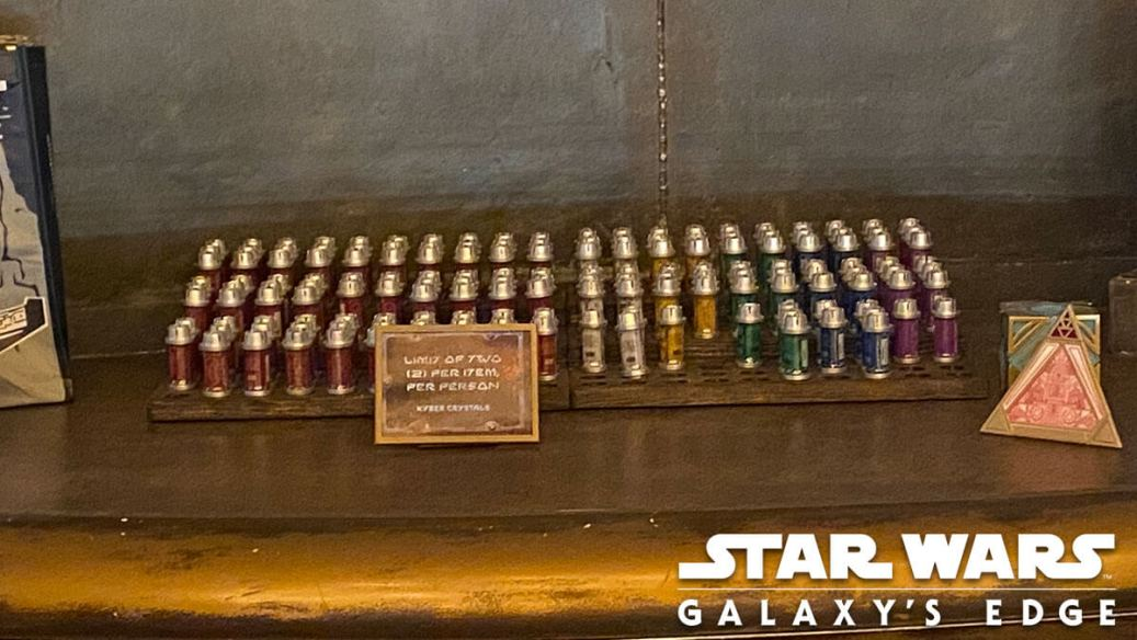 Disney World kyber crystals displayed behind the counter