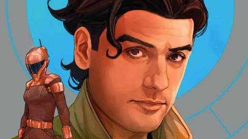 A late-teens Poe Dameron and helmeted Zorii Bliss