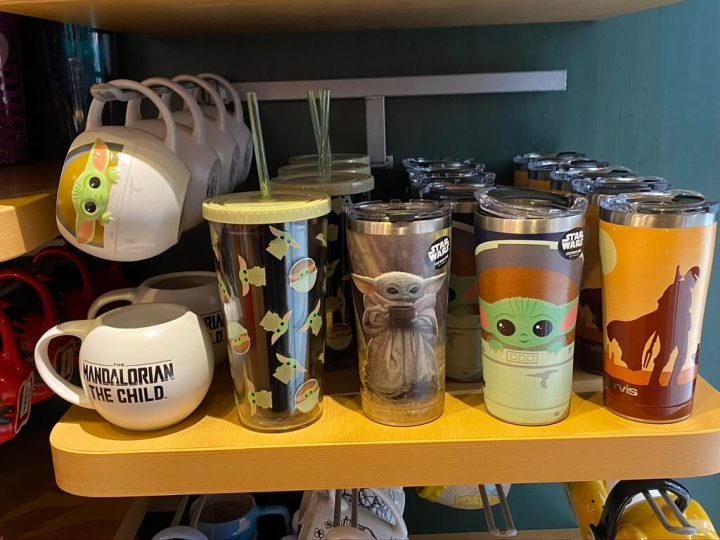 New Star Wars Merchandise at Disney Springs and The Disney Store. Baby Yoda Tumblers and a coffee cup.