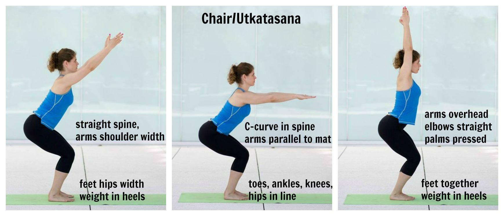 yoga chair pose revolving boss on the mat edge of