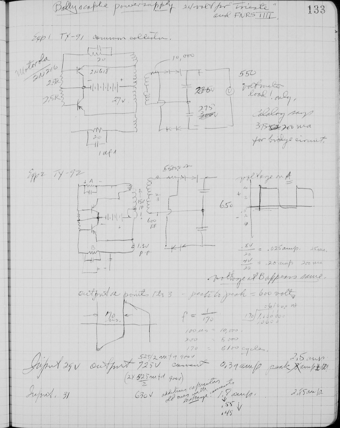 Edgerton Lab Notebook 25, Page 133 « Harold