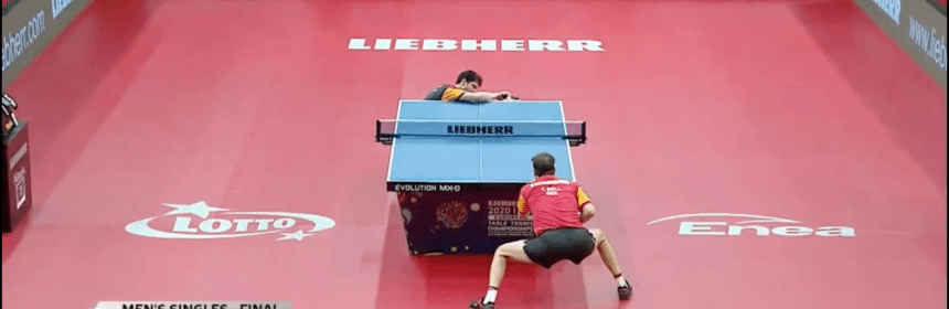 Dimitrij Ovtcharov serves to Timo Boll