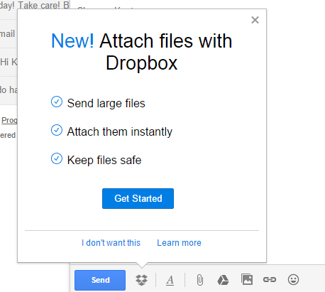 Gmail with Dropbox